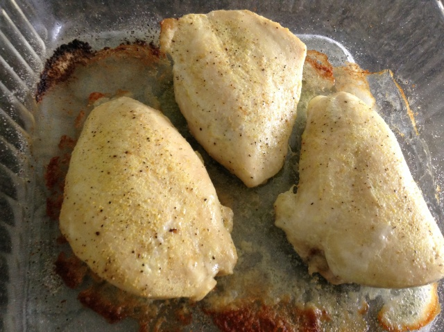 Baked and lightly seasoned chicken.  The adobo gives it just the right flavor.