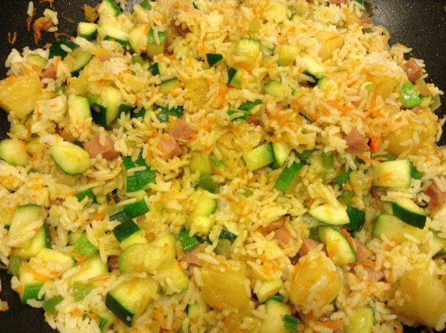 Budget Friendly Pineapple Fried Rice with Ham.  I now omit the ham and it tastes just as good!  This recipe makes a lot!