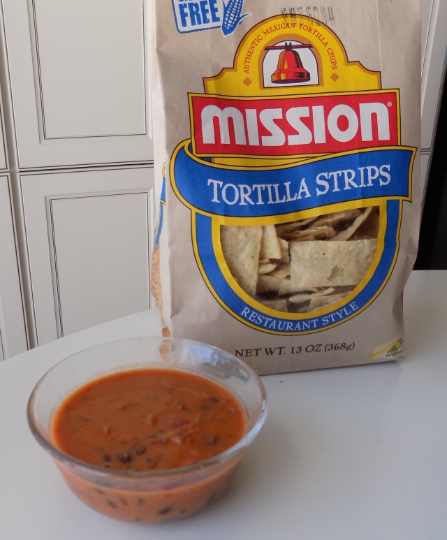 Mission is our favorite brand for tortilla chips.  This is my favorite new lunch.