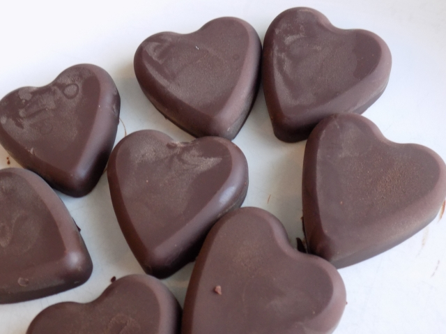Frozen Chocolate Hearts Ready for the Cookies!