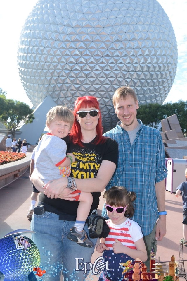 Here's Nina at Epcot with her family.
