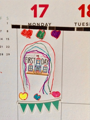 My daughter's planner with the First Day of School. I love the hearts and rainbow.